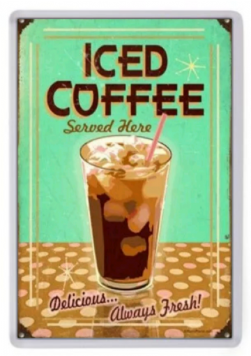 Delicious Iced Coffee Fridge Magnet. Retro Americana. Diner Sign